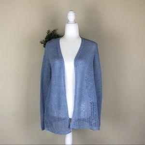 TAHARI | Slate Blue Open Cardigan Sweater Chic M